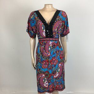 NEW NY Collection Dress M Floral Paisley Party Vv3